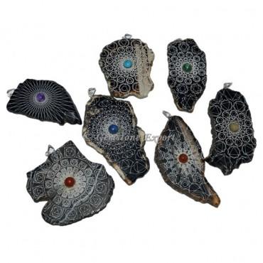 Assorted Stone Slices Pendants