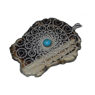 Throat Chakra Slice With Turquoise Stone Pendants
