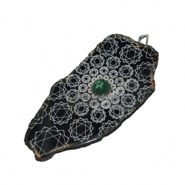 Heart Chakra Slice With Green Aventurine Stone Pendants