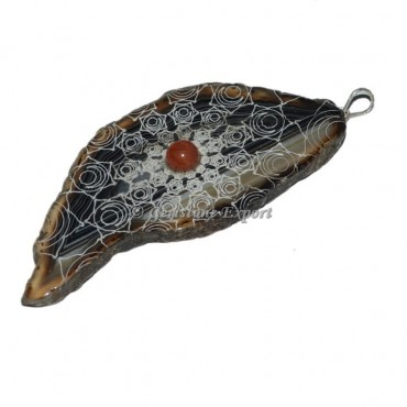 Spleen Chakra Slice With Red Jasper Stone Pendants