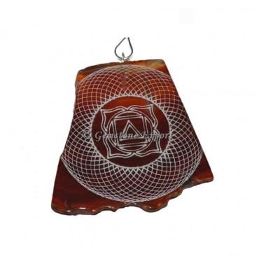 Engraved Root Chakra Slice Pendants