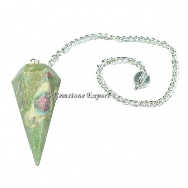 Ruby Zoisite Faceted Pendulum