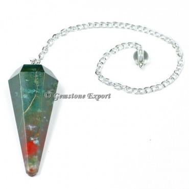 Blood Stone Faceted Pendulum