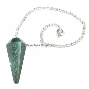 Dark Green Aventurine Faceted Pendulum