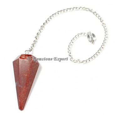 Spotted Red Jasper Faceted Pendulum
