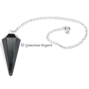 Black Tourmaline Faceted Pendulum