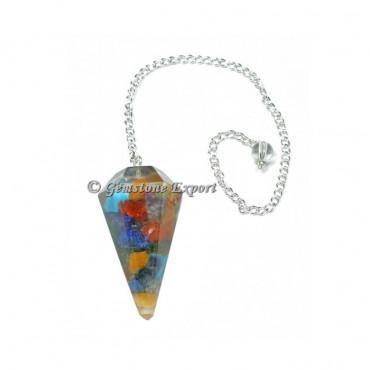 Seven Chakra Orgonite Faceted Pendulum