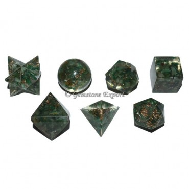 Green Aventurine Orgonite Sacred Geometry Set