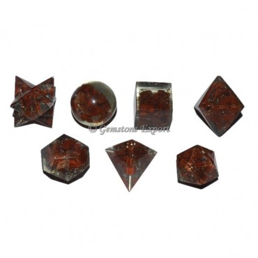 Red Jasper Orgone Energy Sacred Geometry Set