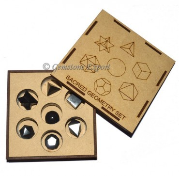 Black Tourmaline Sacred Geometry Set With Square Gift Box