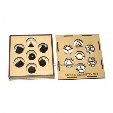 Black Tourmaline Sacred Geometry Set With Transparent Gift Box