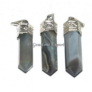Grey Agate Banded Cap Pendants