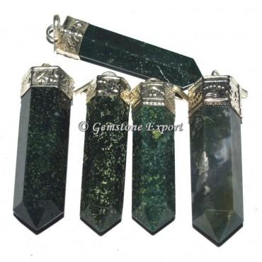 Moss Agate Cap Gemstone Pencil Pendants