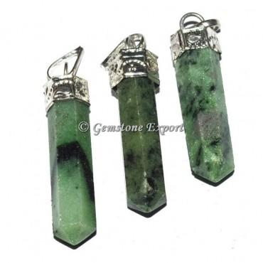 Green Zoisite Cap Pencil Pendants
