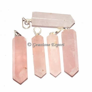 Rose Quartz Pencil Pendants