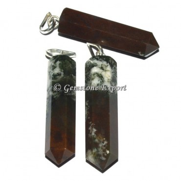 Pink Moss agate Pencil Pendants