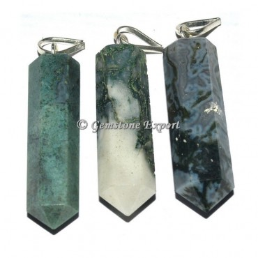 Moss agate Pencil Pendants