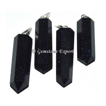 Blue Sunstone Pencil Pendants
