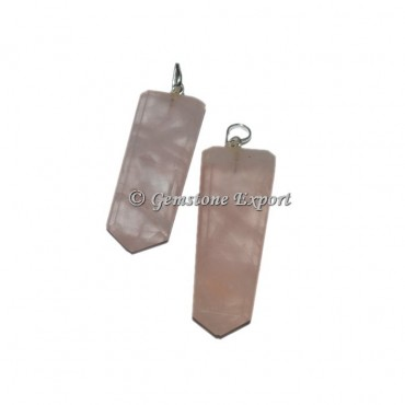 Rose Quartz Flat Pencil Pendants