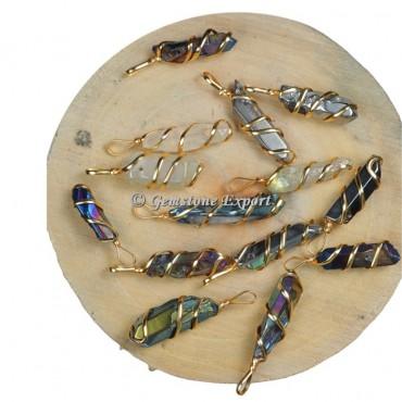 Mix Pencil Golden Wire Wrap Pendants