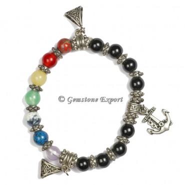 Black Tourmaline With Seven Chakra Yoga Bracelets