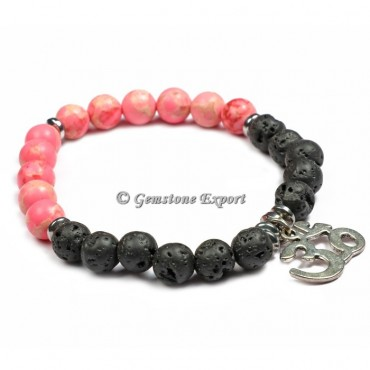 Lava With Pink Howlite Yoga Bracelets