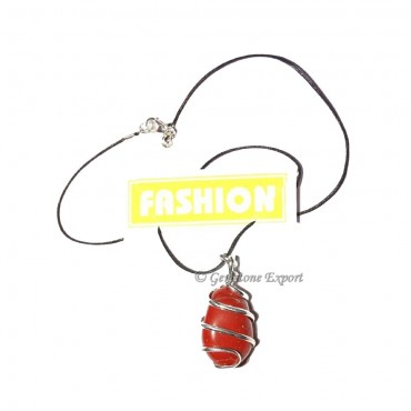 Red Carnailian Tumbled  Wrap Pendants