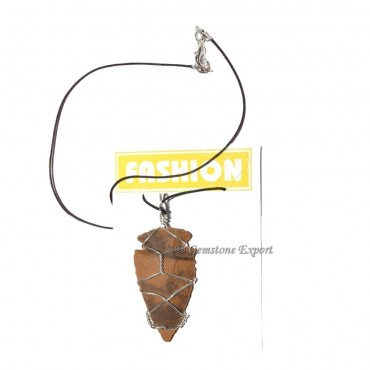 Indian Agate Arrowheads  Wrap Pendants