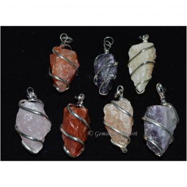 Mix Gemstone Rough Pendants