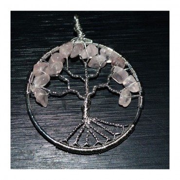 Rose Quartz Flower Of life Tree Pendants