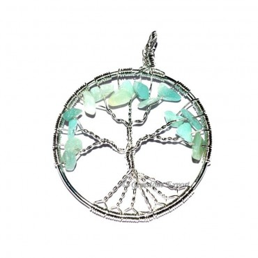 Green Jade Flower of Life Tree Pendants