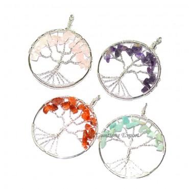 Mix Gemstone Flower of Life Tree Pendants