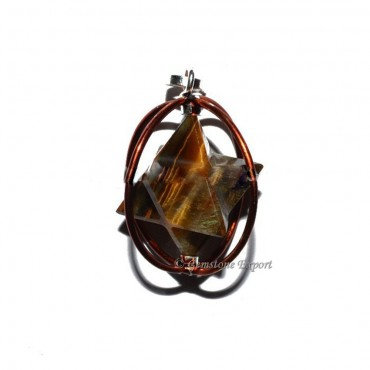 Brown Tiger Eye Merkaba Cage Pendants