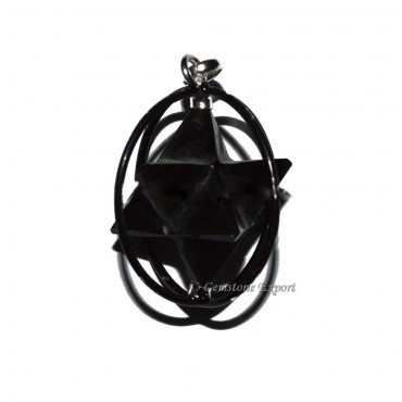 Black Agate Merkaba Cage Pendants