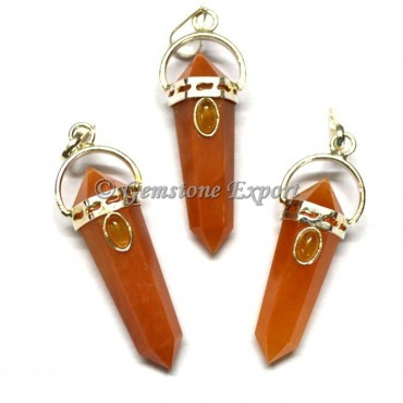Peach Aventurine Double Point Pendants