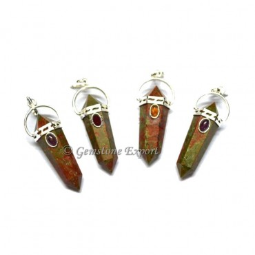 Unakite Double Point Pendants