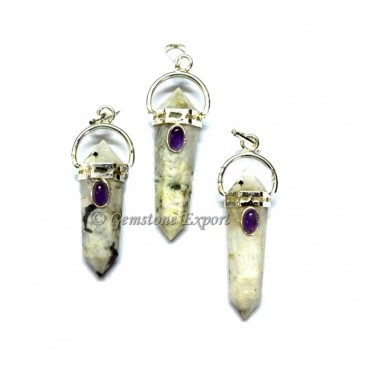 Rainbow MoonStone Double Point Pendants