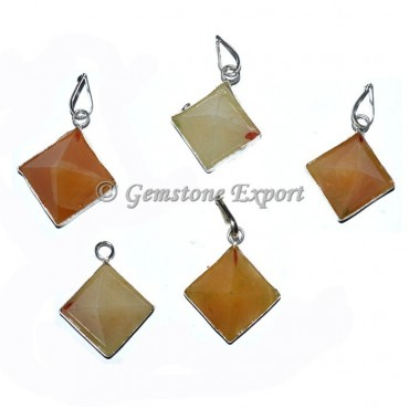 Golden Quartz Pyramids Pendants