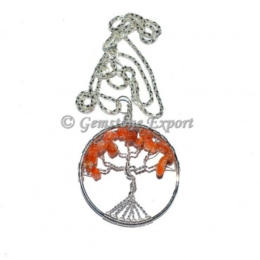 Carnellian Flower of life Tree Pendants with Chain