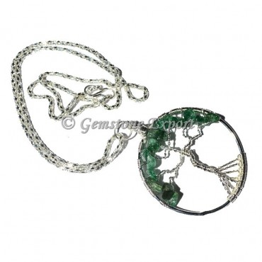 Green Jade Flower of life Tree Pendants with Chain