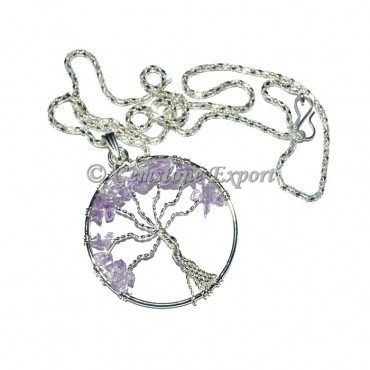 Amethyst Flower of life Tree Pendants with Chain