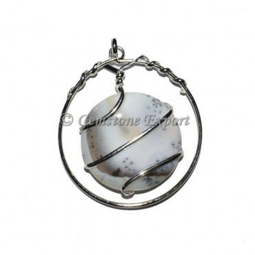 White Dendrict agate Wrap Pendants