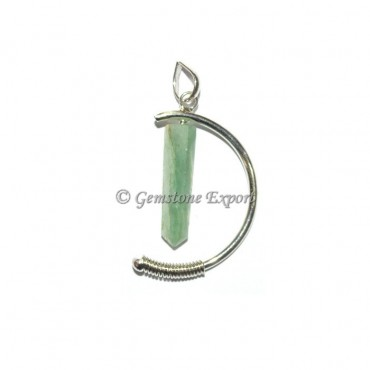 Green Aventurine Pencil Moon Pendants