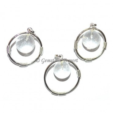 Crystal Quartz Round Ball Pendants