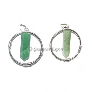 Green Flourite Round Pencil Pendants