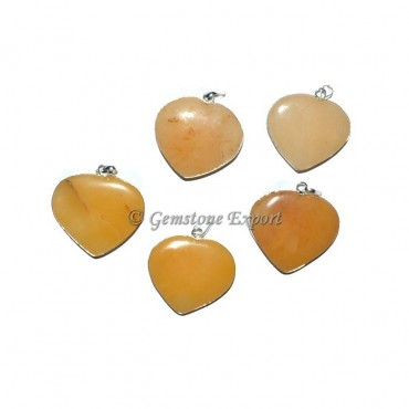Golden Quartz Heart Pendants