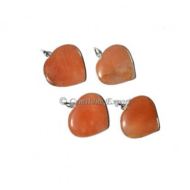 Peach Aventurine Heart Pendants