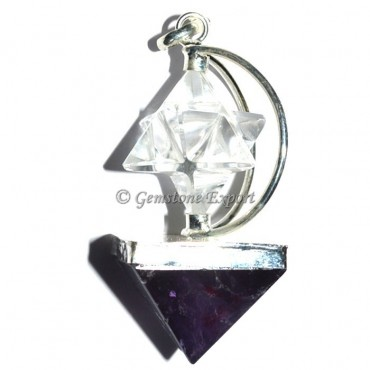 Amethsyt Pyramids and Crystal Merkaba Pendants