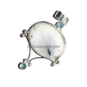 White Dndrict Agate Pendants