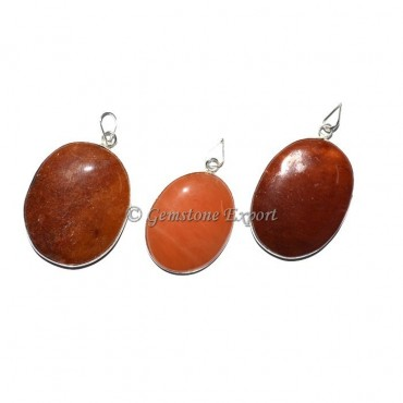 Peach Aventurine Oval Pendants